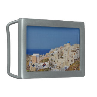 Panoramic view of Santorini Belt Buckle