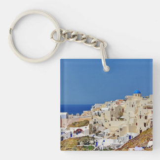 Panoramic view of Santorini Double-Sided Square Acrylic Keychain