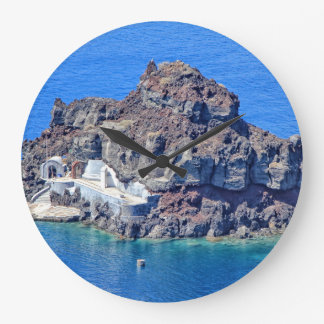 Panoramic view of Santorini Large Clock