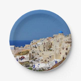 Panoramic view of Santorini Paper Plate