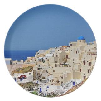 Panoramic view of Santorini Plate