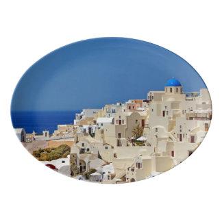 Panoramic view of Santorini Porcelain Serving Platter