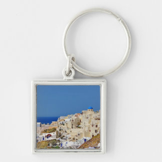 Panoramic view of Santorini Silver-Colored Square Keychain