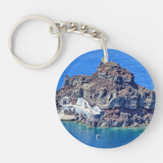 Panoramic view of Santorini Single-Sided Round Acrylic Keychain