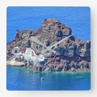 Panoramic view of Santorini Square Wall Clock