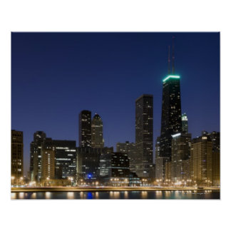 Panoramic view of the Chicago lakefront at dusk, Poster
