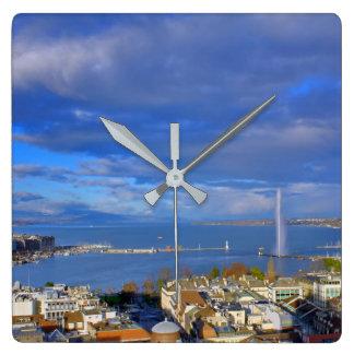 Panoramic view of the Geneva water jet Clock