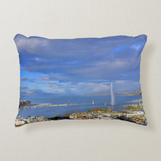 Panoramic view of the Geneva water jet Decorative Pillow