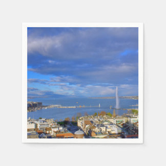 Panoramic view of the Geneva water jet Paper Napkins