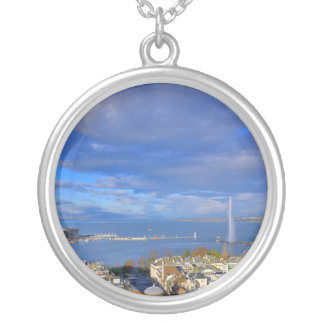 Panoramic view of the Geneva water jet Silver Plated Necklace