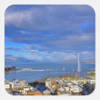 Panoramic view of the Geneva water jet Square Sticker