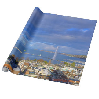 Panoramic view of the Geneva water jet Wrapping Paper