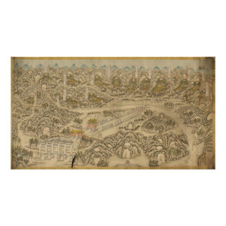Panoramic view of the Ming Tombs (c. 1736) Poster