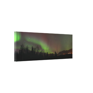 Panoramic View of the Northern Lights in Alaska Canvas Print