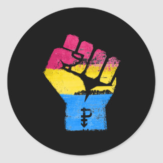 PANSEXUAL FIST CLASSIC ROUND STICKER