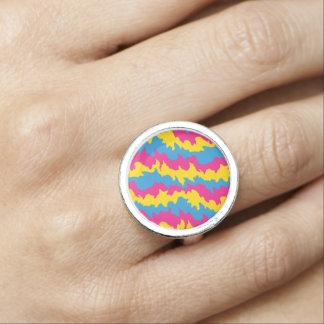 Pansexual Flag Patterns Ring