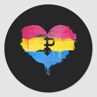PANSEXUAL HEART - PANSEXUAL LOVE - SYMBOL - CLASSIC ROUND STICKER