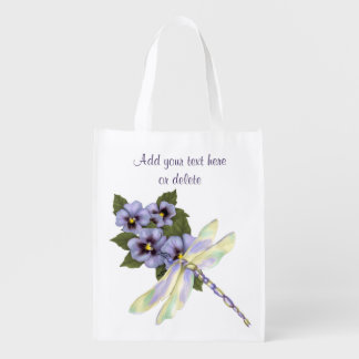 Pansies and Dragonfly - Designer Market Bag