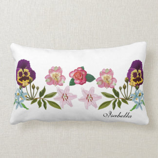 Pansies and Friends Polyester Lumbar Pillow