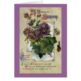 Pansies and Ivy Vintage Birthday Card