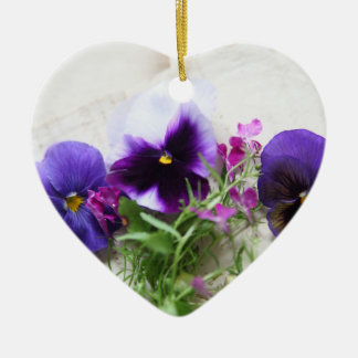 Pansies and lobelia on old handwriting ceramic heart ornament