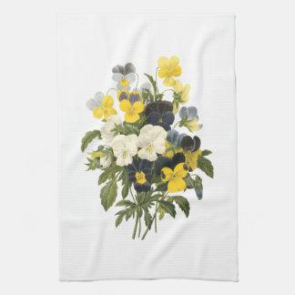 Pansies and Violets Viintage Art Kitchen Towel