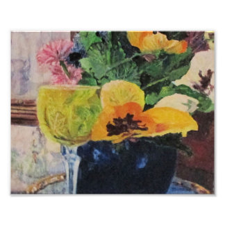 Pansies and Wineglass Photo Print