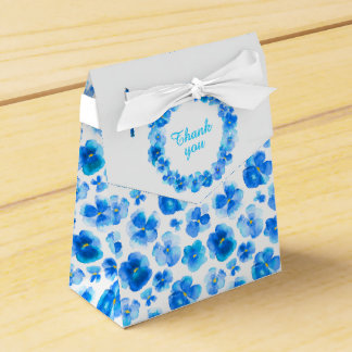 Pansies blue floral watercolor art thank you box
