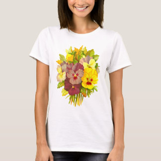 Pansies Floral Retro Vintage Composition T-Shirt