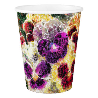 Pansies Flowers Abstract Art Disposable Paper Cups