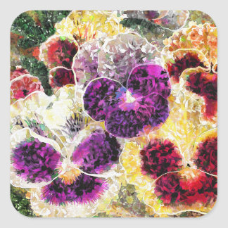 Pansies Flowers Abstract Art, Glossy Stickers