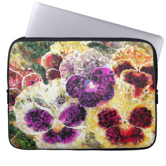Pansies Flowers Abstract Art, Laptop Sleeve 13""