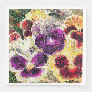 Pansies Flowers Abstract Art Paper Dinner Napkins Disposable Napkins