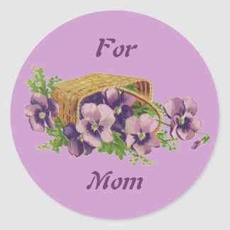Pansies For Mom Classic Round Sticker