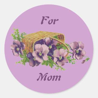 Pansies For Mom Round Sticker