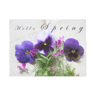Pansies, lobelia on old handwriting Hello Spring Doormat