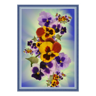 pansies portrait view poster