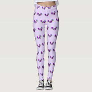 Pansies Purple and White Pattern Legging