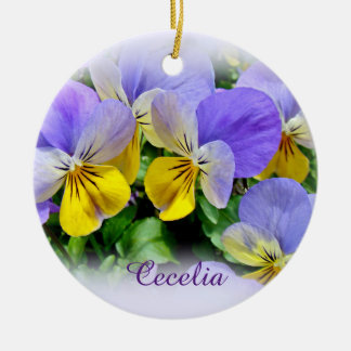 Pansies - Purple and Yellow Round Ceramic Ornament