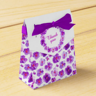 Pansies purple watercolor art thank you gift box