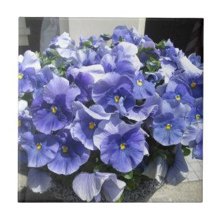 Pansies Sky Blue Ceramic Tile