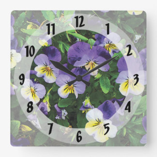 Pansies Square Wall Clock
