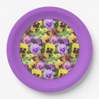 Pansies Watercolor 9 Inch Paper Plate