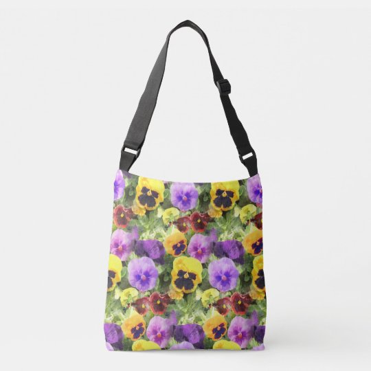 Pansies Watercolor Crossbody Bag