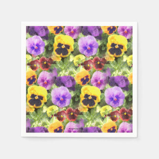 Pansies Watercolor Disposable Napkin
