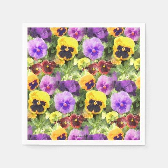 Pansies Watercolor Disposable Napkin