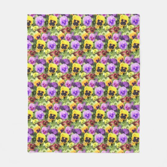 Pansies Watercolor Fleece Blanket