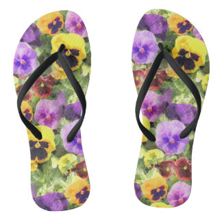 Pansies Watercolor Flip Flops