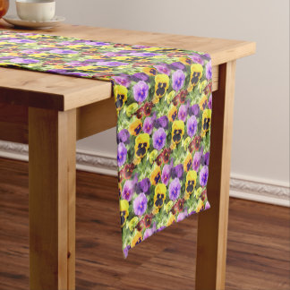 Pansies Watercolor Medium Table Runner