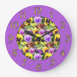 Pansies Watercolor Numbers Large Clock